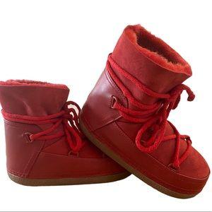 Inuikii Leather Sheepskin Boot Red 36 Retro